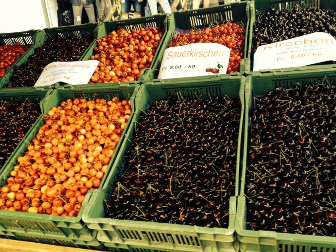 Cherries for sale at the Solothurn market